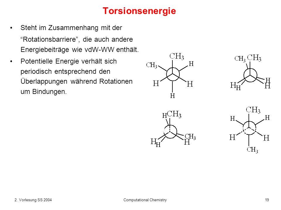 192. Vorlesung SS 2004 Computational Chemistry Torsionsenergie Steht im Zusammenhang mit der Rotationsbarriere, die auch andere Energiebeiträge wie vd