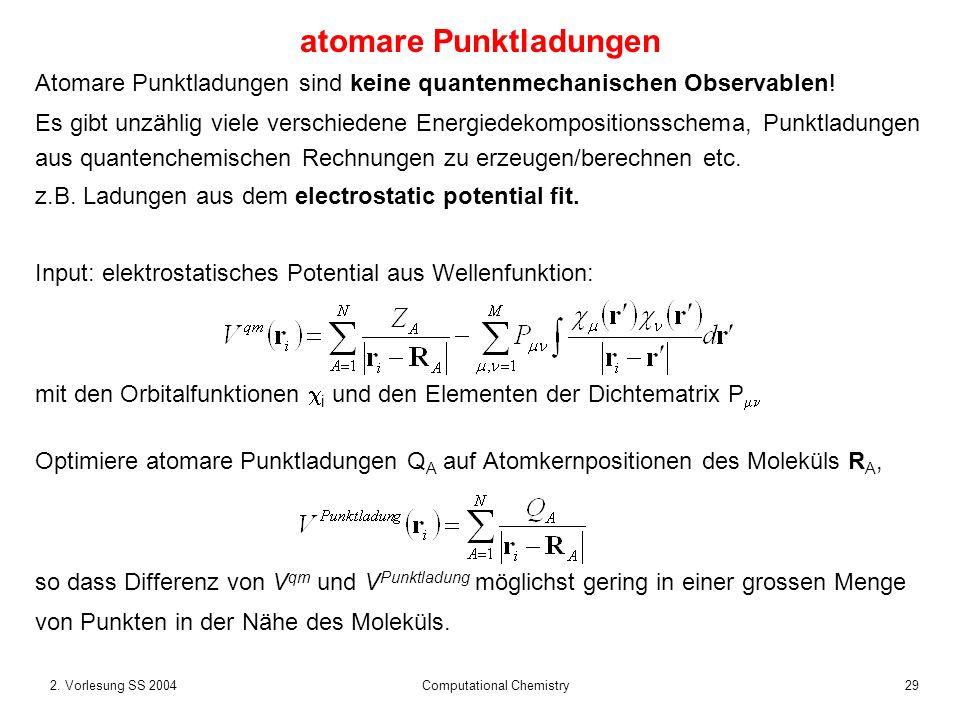 292. Vorlesung SS 2004 Computational Chemistry atomare Punktladungen Atomare Punktladungen sind keine quantenmechanischen Observablen! Es gibt unzähli