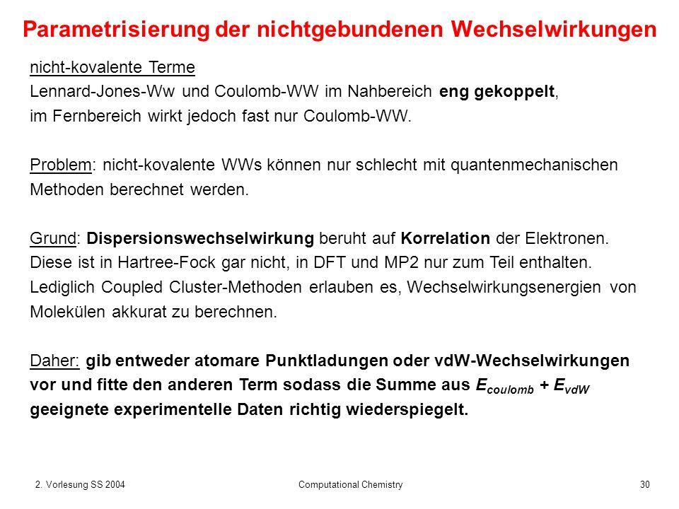 302. Vorlesung SS 2004 Computational Chemistry Parametrisierung der nichtgebundenen Wechselwirkungen nicht-kovalente Terme Lennard-Jones-Ww und Coulom