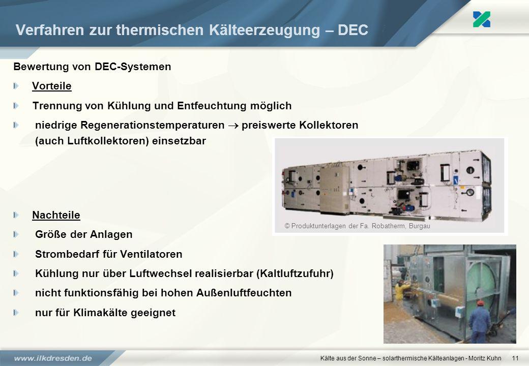 Kälte aus der Sonne – solarthermische Kälteanlagen - Moritz Kuhn11 Verfahren zur thermischen Kälteerzeugung – DEC Bewertung von DEC-Systemen Vorteile