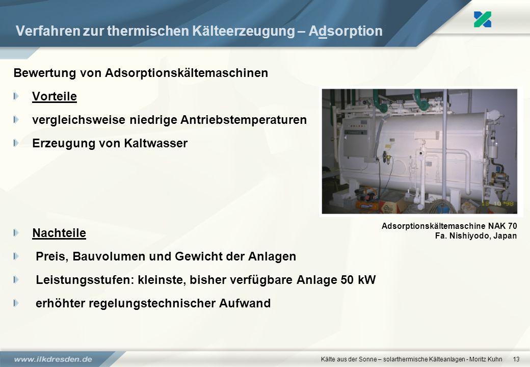 Kälte aus der Sonne – solarthermische Kälteanlagen - Moritz Kuhn13 Verfahren zur thermischen Kälteerzeugung – Adsorption Bewertung von Adsorptionskält