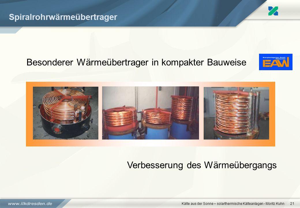 Kälte aus der Sonne – solarthermische Kälteanlagen - Moritz Kuhn21 Spiralrohrwärmeübertrager Besonderer Wärmeübertrager in kompakter Bauweise Verbesse