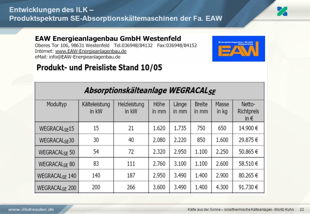 Kälte aus der Sonne – solarthermische Kälteanlagen - Moritz Kuhn22 Entwicklungen des ILK – Produktspektrum SE-Absorptionskältemaschinen der Fa. EAW