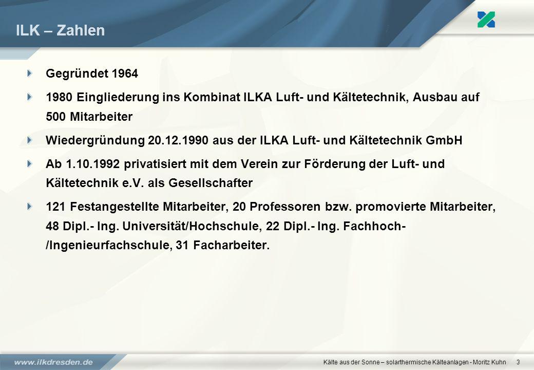 Kälte aus der Sonne – solarthermische Kälteanlagen - Moritz Kuhn3 ILK – Zahlen Gegründet 1964 1980 Eingliederung ins Kombinat ILKA Luft- und Kältetech
