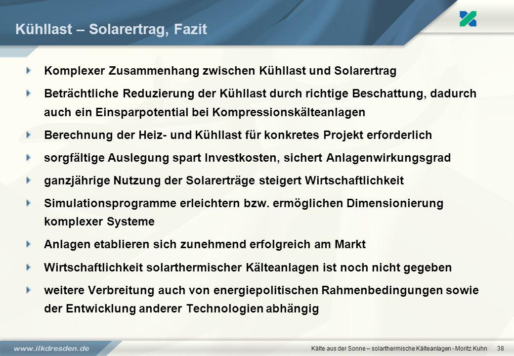 Kälte aus der Sonne – solarthermische Kälteanlagen - Moritz Kuhn38 Kühllast – Solarertrag, Fazit Komplexer Zusammenhang zwischen Kühllast und Solarert