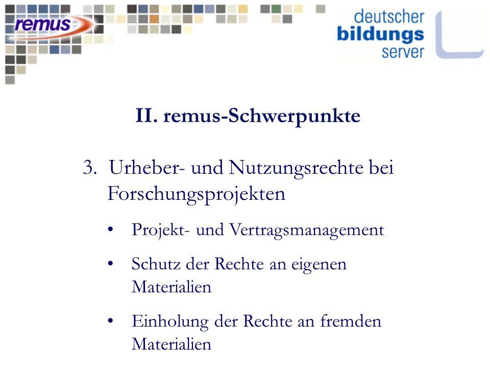 II. remus-Schwerpunkte 3.