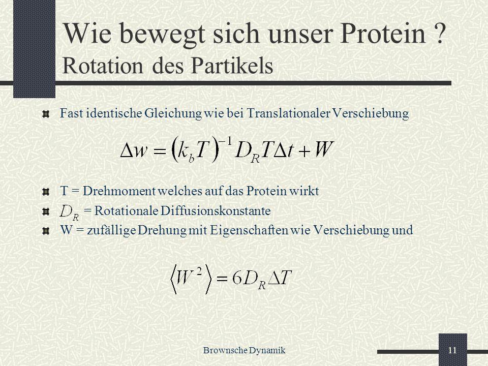 Brownsche Dynamik11 Wie bewegt sich unser Protein ? Rotation des Partikels Fast identische Gleichung wie bei Translationaler Verschiebung T = Drehmome