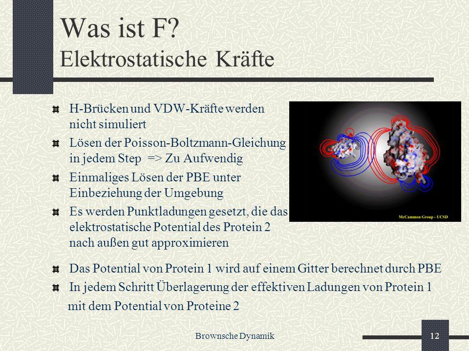 Brownsche Dynamik12 Was ist F? Elektrostatische Kräfte H-Brücken und VDW-Kräfte werden nicht simuliert Lösen der Poisson-Boltzmann-Gleichung in jedem