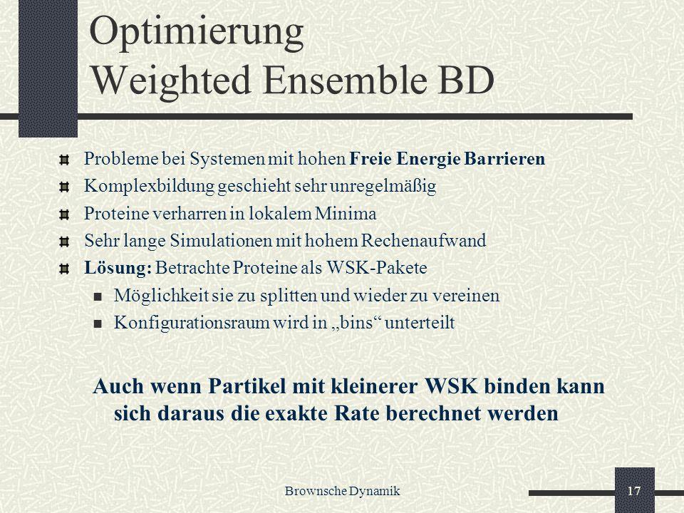 Brownsche Dynamik17 Optimierung Weighted Ensemble BD Probleme bei Systemen mit hohen Freie Energie Barrieren Komplexbildung geschieht sehr unregelmäßi