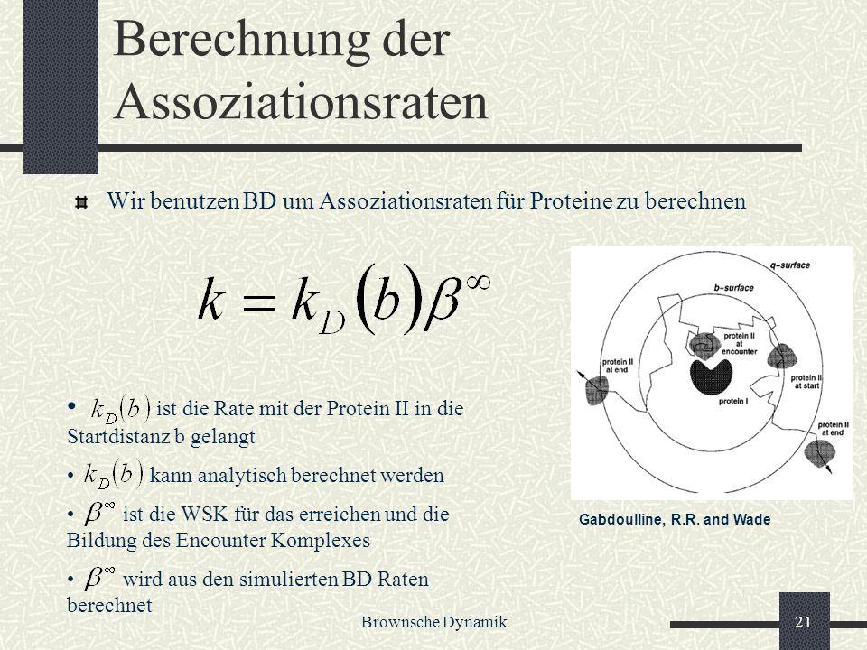 Brownsche Dynamik21 Berechnung der Assoziationsraten Wir benutzen BD um Assoziationsraten für Proteine zu berechnen ist die Rate mit der Protein II in