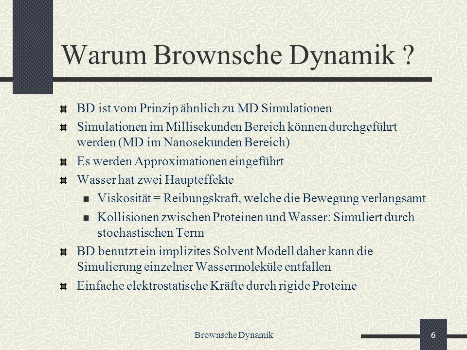 Brownsche Dynamik6 Warum Brownsche Dynamik ? BD ist vom Prinzip ähnlich zu MD Simulationen Simulationen im Millisekunden Bereich können durchgeführt w