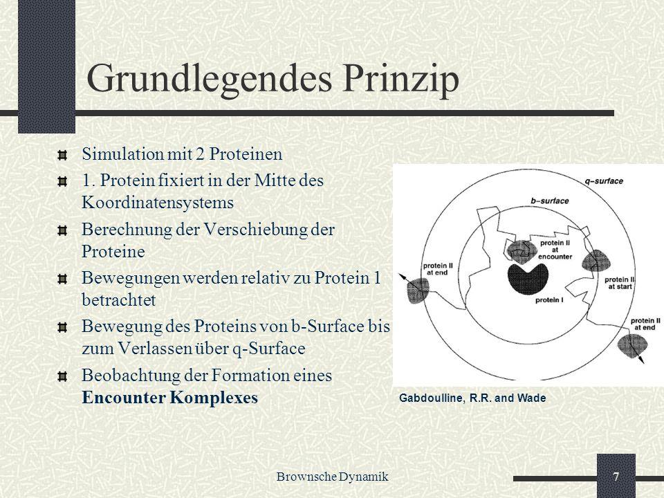 Brownsche Dynamik7 Grundlegendes Prinzip Simulation mit 2 Proteinen 1. Protein fixiert in der Mitte des Koordinatensystems Berechnung der Verschiebung