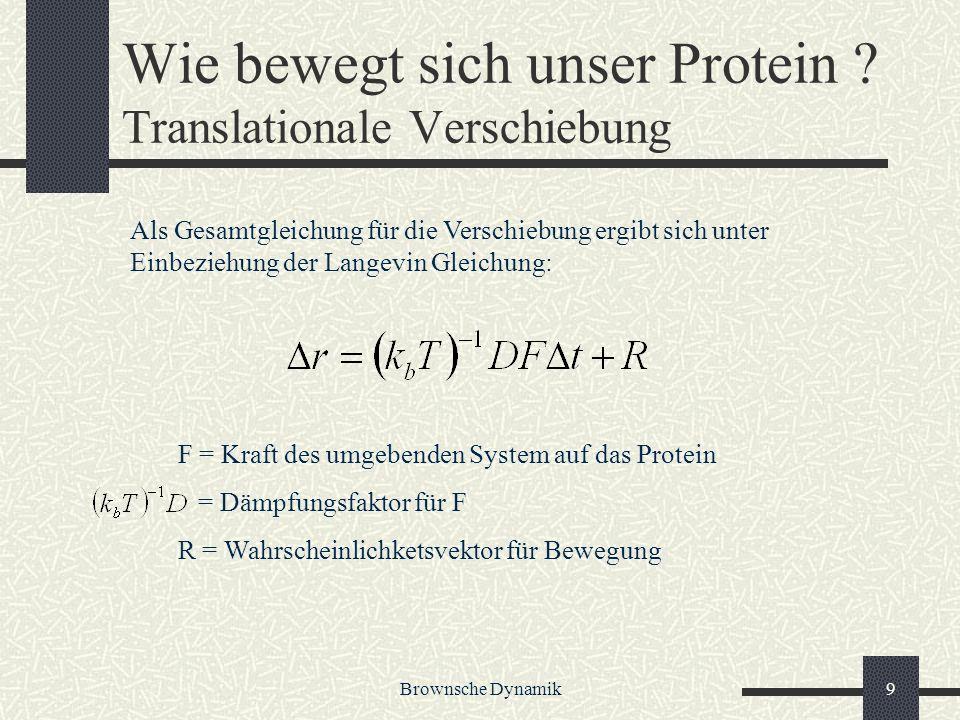 Brownsche Dynamik9 Wie bewegt sich unser Protein ? Translationale Verschiebung F = Kraft des umgebenden System auf das Protein = Dämpfungsfaktor für F