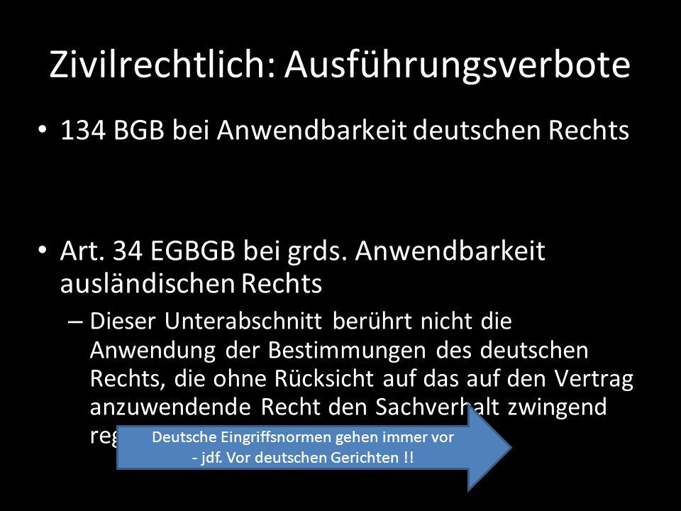 Zivilrechtlich: Ausführungsverbote 134 BGB bei Anwendbarkeit deutschen Rechts Art. 34 EGBGB bei grds. Anwendbarkeit ausländischen Rechts – Dieser Unte