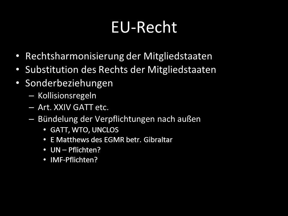 EU-Recht Rechtsharmonisierung der Mitgliedstaaten Substitution des Rechts der Mitgliedstaaten Sonderbeziehungen – Kollisionsregeln – Art. XXIV GATT et