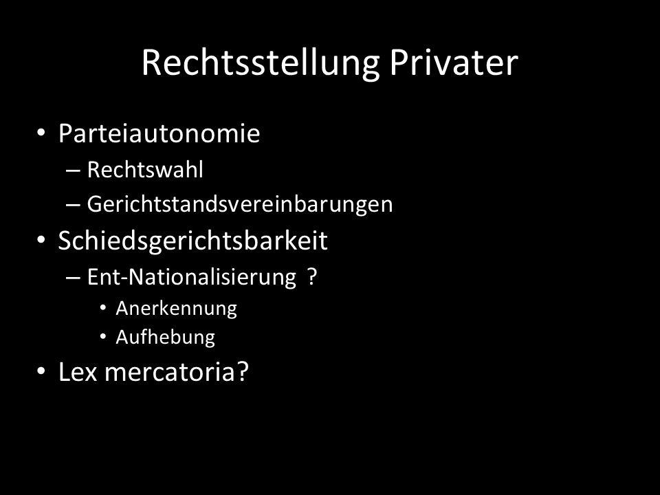 Rechtsstellung Privater Parteiautonomie – Rechtswahl – Gerichtstandsvereinbarungen Schiedsgerichtsbarkeit – Ent-Nationalisierung ? Anerkennung Aufhebu