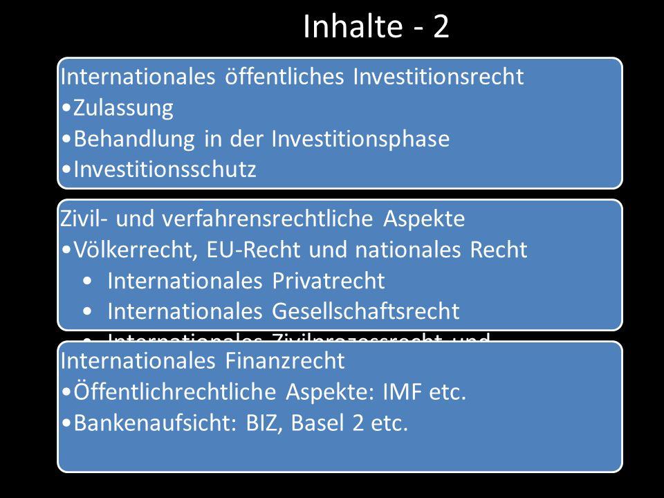 Inhalte - 2 Internationales öffentliches Investitionsrecht Zulassung Behandlung in der Investitionsphase Investitionsschutz Zivil- und verfahrensrecht