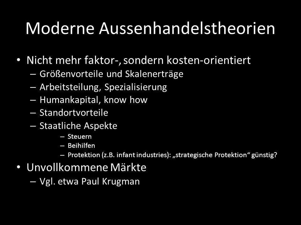 Moderne Aussenhandelstheorien Nicht mehr faktor-, sondern kosten-orientiert – Größenvorteile und Skalenerträge – Arbeitsteilung, Spezialisierung – Hum