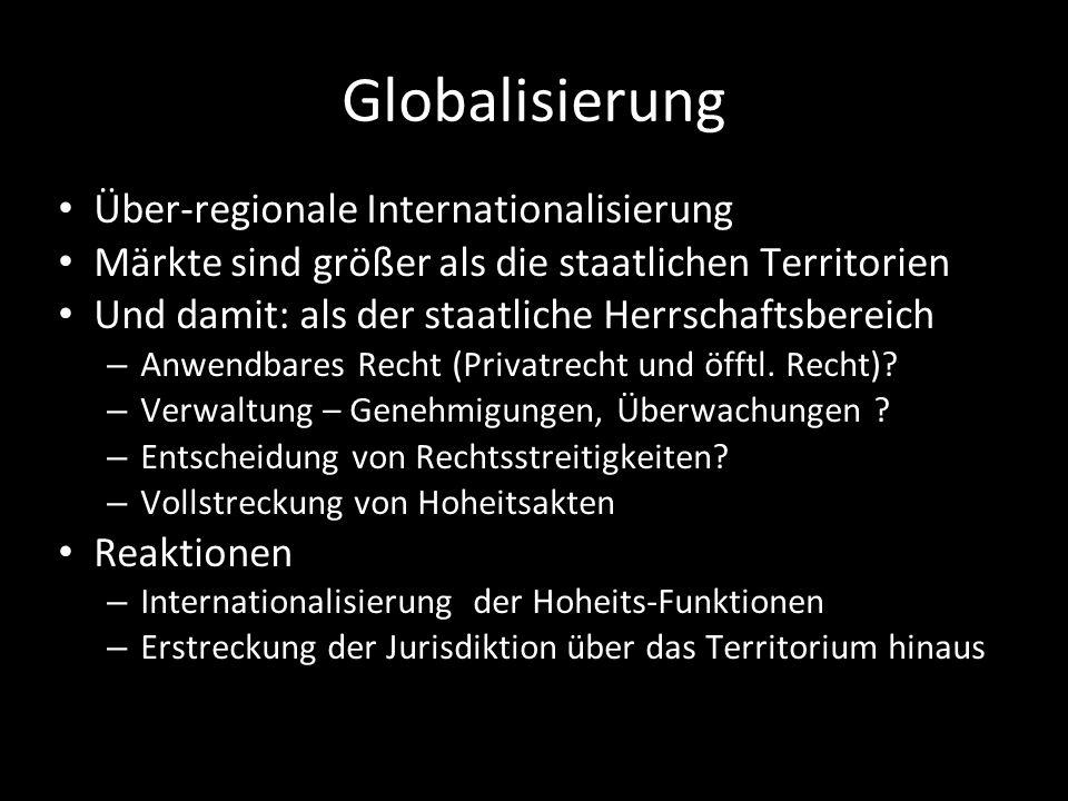 Globalisierung Über-regionale Internationalisierung Märkte sind größer als die staatlichen Territorien Und damit: als der staatliche Herrschaftsbereic