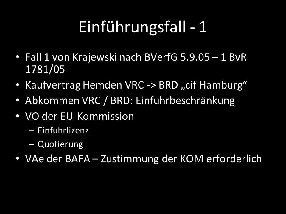 Einführungsfall - 1 Fall 1 von Krajewski nach BVerfG 5.9.05 – 1 BvR 1781/05 Kaufvertrag Hemden VRC -> BRD cif Hamburg Abkommen VRC / BRD: Einfuhrbesch
