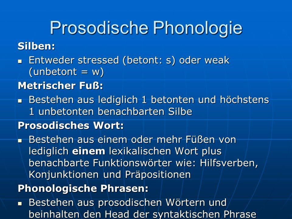 Prosodische Phonologie Silben: Entweder stressed (betont: s) oder weak (unbetont = w) Entweder stressed (betont: s) oder weak (unbetont = w) Metrischer Fuß: Bestehen aus lediglich 1 betonten und höchstens 1 unbetonten benachbarten Silbe Bestehen aus lediglich 1 betonten und höchstens 1 unbetonten benachbarten Silbe Prosodisches Wort: Bestehen aus einem oder mehr Füßen von lediglich einem lexikalischen Wort plus benachbarte Funktionswörter wie: Hilfsverben, Konjunktionen und Präpositionen Bestehen aus einem oder mehr Füßen von lediglich einem lexikalischen Wort plus benachbarte Funktionswörter wie: Hilfsverben, Konjunktionen und Präpositionen Phonologische Phrasen: Bestehen aus prosodischen Wörtern und beinhalten den Head der syntaktischen Phrase Bestehen aus prosodischen Wörtern und beinhalten den Head der syntaktischen Phrase