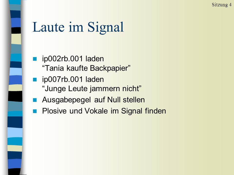 Laute im Signal n ip002rb.001 laden Tania kaufte Backpapier n ip007rb.001 laden Junge Leute jammern nicht n Ausgabepegel auf Null stellen n Plosive und Vokale im Signal finden Sitzung 4