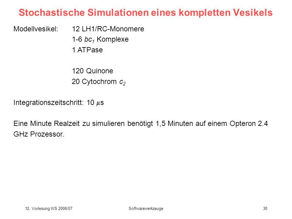 12. Vorlesung WS 2006/07Softwarewerkzeuge30 Stochastische Simulationen eines kompletten Vesikels Modellvesikel:12 LH1/RC-Monomere 1-6 bc 1 Komplexe 1