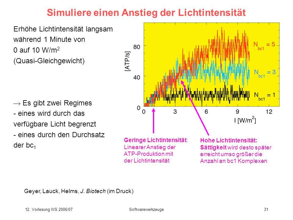 12. Vorlesung WS 2006/07Softwarewerkzeuge31 Simuliere einen Anstieg der Lichtintensität Erhöhe Lichtintensität langsam während 1 Minute von 0 auf 10 W