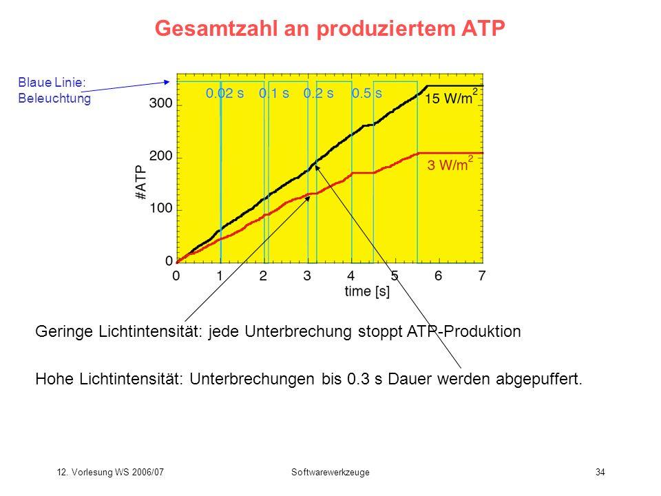 12. Vorlesung WS 2006/07Softwarewerkzeuge34 Gesamtzahl an produziertem ATP Geringe Lichtintensität: jede Unterbrechung stoppt ATP-Produktion Hohe Lich