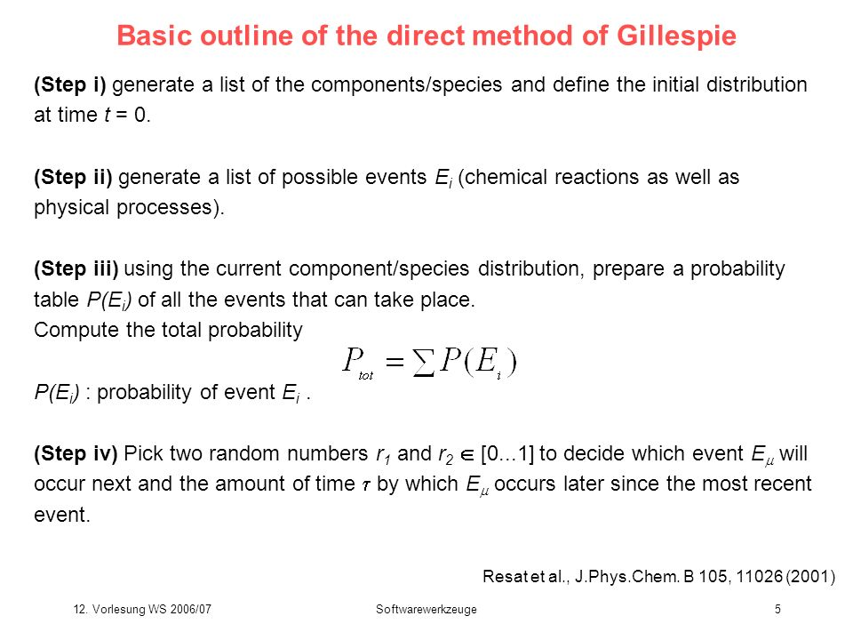 12. Vorlesung WS 2006/07Softwarewerkzeuge5 Basic outline of the direct method of Gillespie (Step i) generate a list of the components/species and defi