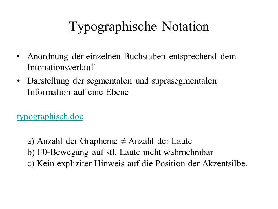 Typographische Notation Anordnung der einzelnen Buchstaben entsprechend dem Intonationsverlauf Darstellung der segmentalen und suprasegmentalen Information auf eine Ebene typographisch.doc a) Anzahl der Grapheme Anzahl der Laute b) F0-Bewegung auf stl.