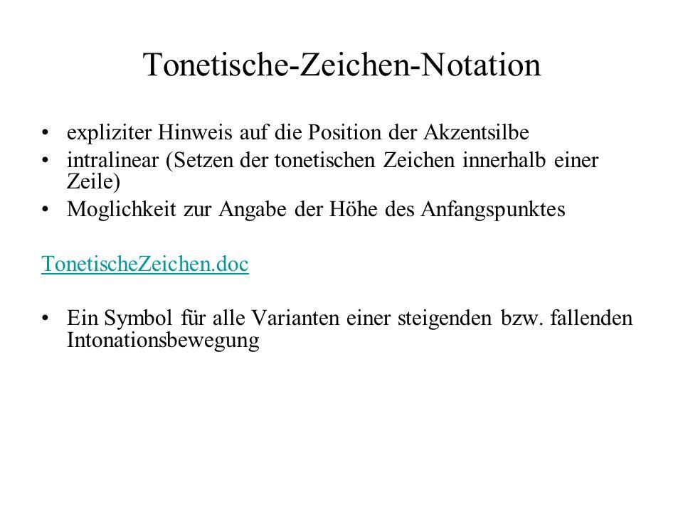 Tonetische-Zeichen-Notation expliziter Hinweis auf die Position der Akzentsilbe intralinear (Setzen der tonetischen Zeichen innerhalb einer Zeile) Moglichkeit zur Angabe der Höhe des Anfangspunktes TonetischeZeichen.doc Ein Symbol für alle Varianten einer steigenden bzw.