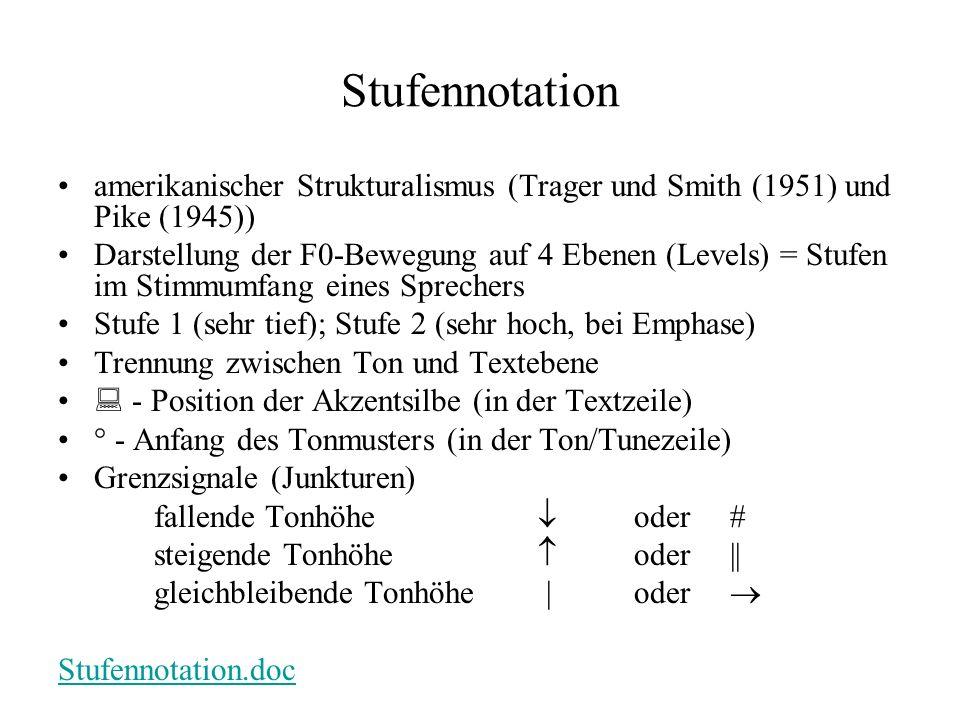 Stufennotation amerikanischer Strukturalismus (Trager und Smith (1951) und Pike (1945)) Darstellung der F0-Bewegung auf 4 Ebenen (Levels) = Stufen im Stimmumfang eines Sprechers Stufe 1 (sehr tief); Stufe 2 (sehr hoch, bei Emphase) Trennung zwischen Ton und Textebene - Position der Akzentsilbe (in der Textzeile) ° - Anfang des Tonmusters (in der Ton/Tunezeile) Grenzsignale (Junkturen) fallende Tonhöhe oder steigende Tonhöhe oder|| gleichbleibende Tonhöhe |oder Stufennotation.doc