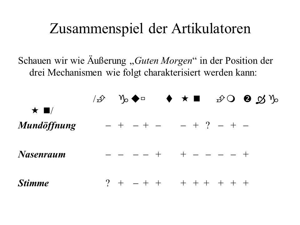 Zusammenspiel der Artikulatoren Schauen wir wie Äußerung Guten Morgen in der Position der drei Mechanismen wie folgt charakterisiert werden kann: / gu