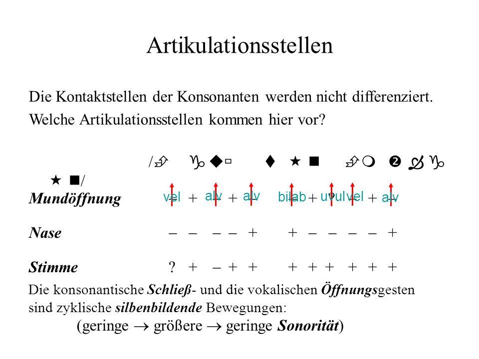 Artikulationsstellen / gu t n m g n / Mundöffnung + + + ? + Nase + + + Stimme ?+ + + ++ +++ + Die Kontaktstellen der Konsonanten werden nicht differen