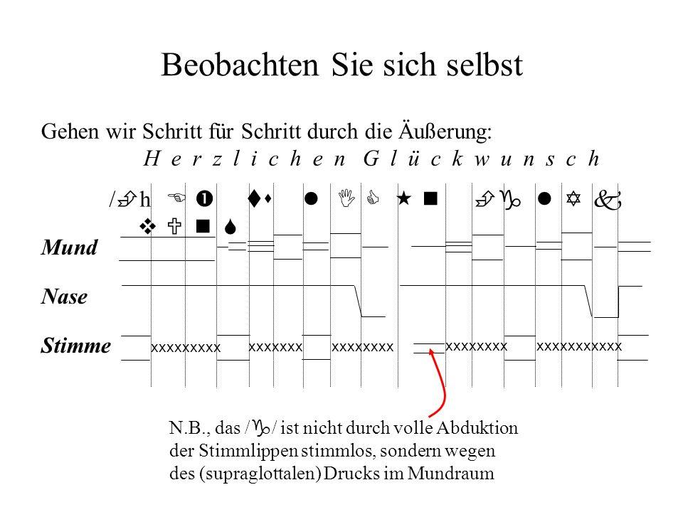 Im Deutschen ist der Unterschied zwischen /g/ und /k/ (die phono- logische Distinktion stimmhaft vs stimmlos) nicht primär von der Stimmlippenaktivität, sondern von der Stärke der Lösung und der fehlenden bzw.