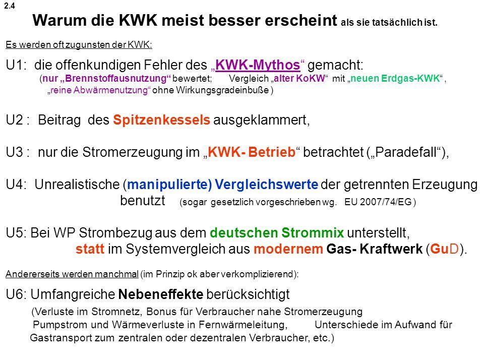 Es werden oft zugunsten der KWK: U1: die offenkundigen Fehler des KWK-Mythos gemacht: (nur Brennstoffausnutzung bewertet; Vergleich alter KoKW mit neuen Erdgas-KWK, reine Abwärmenutzung ohne Wirkungsgradeinbuße ) U2 : Beitrag des Spitzenkessels ausgeklammert, U3 : nur die Stromerzeugung im KWK- Betrieb betrachtet (Paradefall), U4: Unrealistische (manipulierte) Vergleichswerte der getrennten Erzeugung benutzt (sogar gesetzlich vorgeschrieben wg.