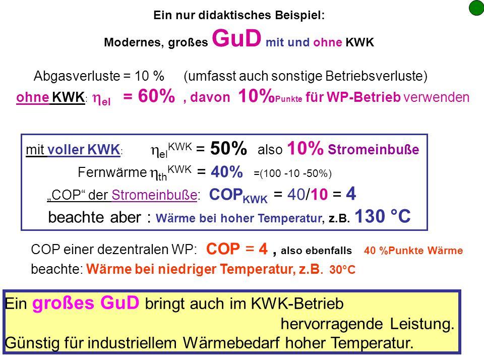 Ein nur didaktisches Beispiel: Modernes, großes GuD mit und ohne KWK Abgasverluste = 10 % (umfasst auch sonstige Betriebsverluste) ohne KWK : el = 60%, davon 10% Punkte für WP-Betrieb verwenden mit voller KWK : el KWK = 50% also 10% Stromeinbuße Fernwärme th KWK = 40% =(100 -10 -50%) COP der Stromeinbuße: COP KWK = 40/10 = 4 beachte aber : Wärme bei hoher Temperatur, z.B.