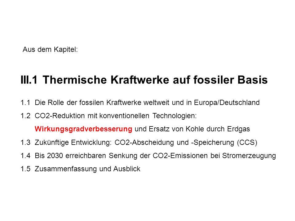 III.1 Thermische Kraftwerke auf fossiler Basis 1.1 Die Rolle der fossilen Kraftwerke weltweit und in Europa/Deutschland 1.2 CO2-Reduktion mit konventionellen Technologien: Wirkungsgradverbesserung und Ersatz von Kohle durch Erdgas 1.3 Zukünftige Entwicklung: CO2-Abscheidung und -Speicherung (CCS) 1.4 Bis 2030 erreichbaren Senkung der CO2-Emissionen bei Stromerzeugung 1.5 Zusammenfassung und Ausblick Aus dem Kapitel: