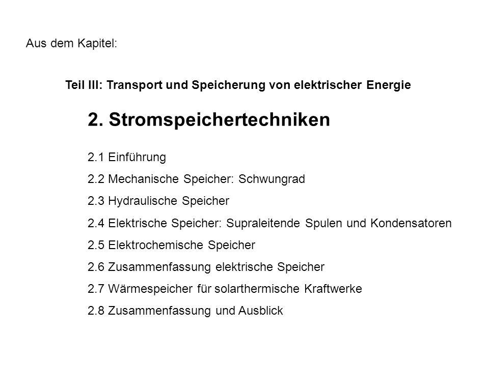 Teil III: Transport und Speicherung von elektrischer Energie Aus dem Kapitel: 2.