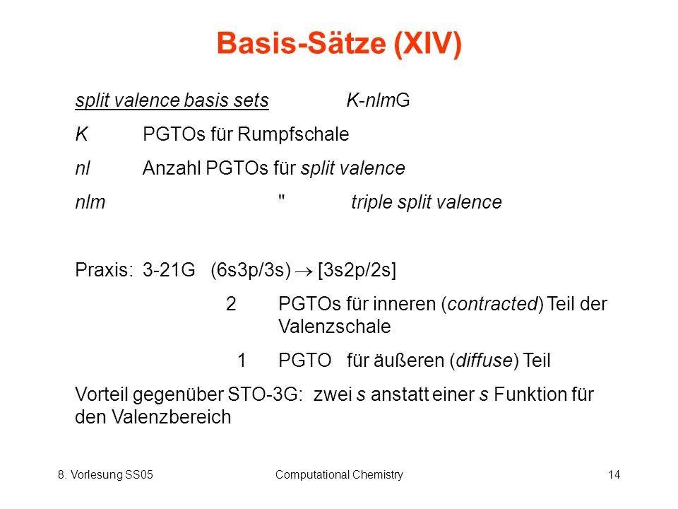 8. Vorlesung SS05Computational Chemistry14 Basis-Sätze (XIV) split valence basis sets K-nlmG KPGTOs für Rumpfschale nlAnzahl PGTOs für split valence n