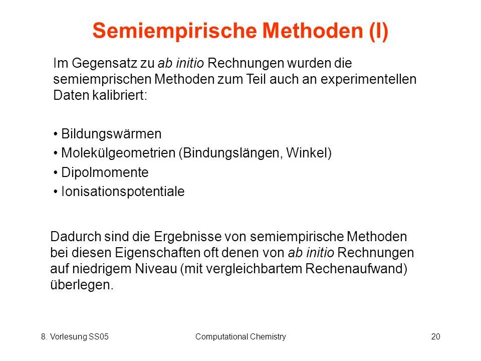 8. Vorlesung SS05Computational Chemistry20 Semiempirische Methoden (I) Im Gegensatz zu ab initio Rechnungen wurden die semiemprischen Methoden zum Tei