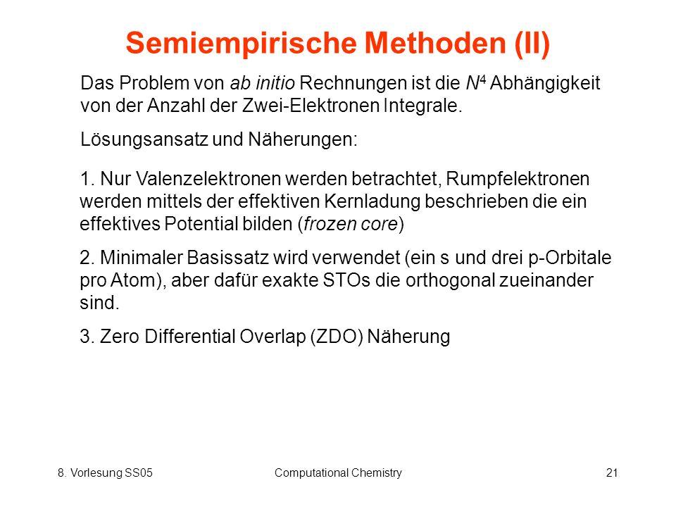 8. Vorlesung SS05Computational Chemistry21 Semiempirische Methoden (II) Das Problem von ab initio Rechnungen ist die N 4 Abhängigkeit von der Anzahl d
