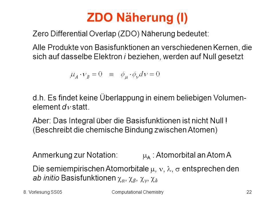 8. Vorlesung SS05Computational Chemistry22 ZDO Näherung (I) Zero Differential Overlap (ZDO) Näherung bedeutet: Alle Produkte von Basisfunktionen an ve
