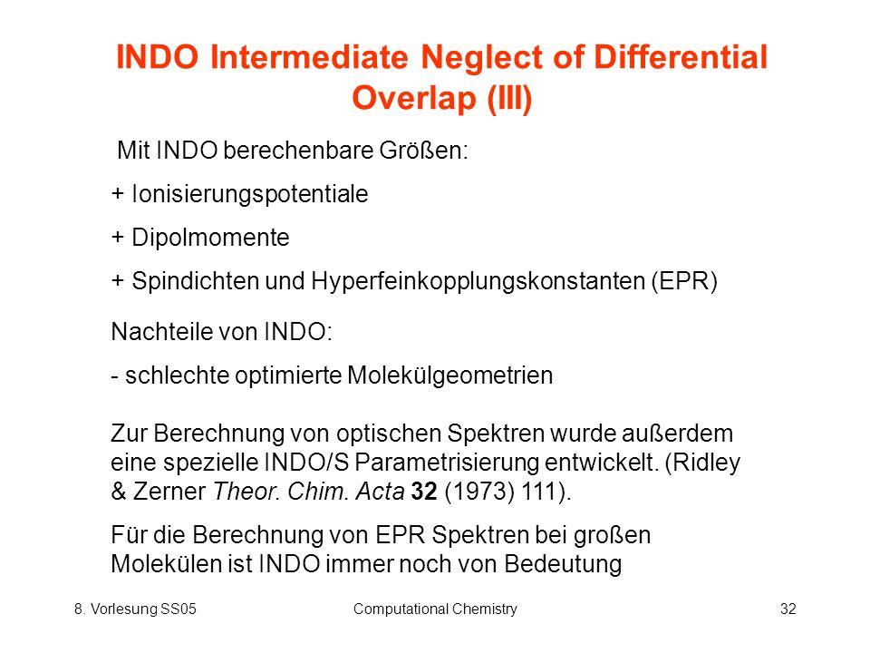 8. Vorlesung SS05Computational Chemistry32 INDO Intermediate Neglect of Differential Overlap (III) Mit INDO berechenbare Größen: + Ionisierungspotenti