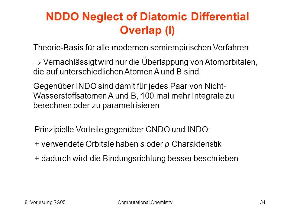 8. Vorlesung SS05Computational Chemistry34 NDDO Neglect of Diatomic Differential Overlap (I) Theorie-Basis für alle modernen semiempirischen Verfahren