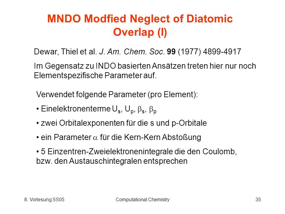 8. Vorlesung SS05Computational Chemistry35 MNDO Modfied Neglect of Diatomic Overlap (I) Dewar, Thiel et al. J. Am. Chem. Soc. 99 (1977) 4899-4917 Im G