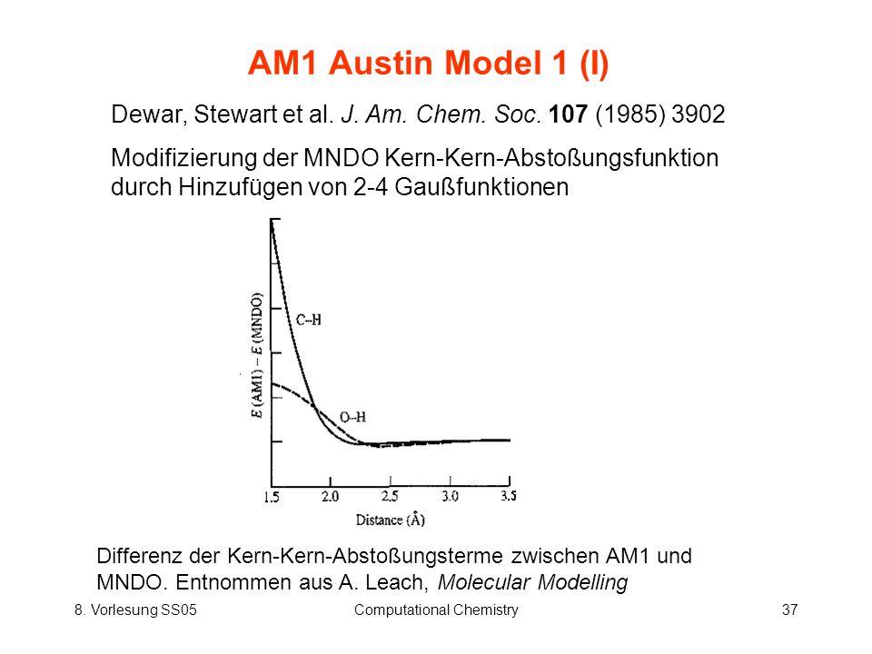 8. Vorlesung SS05Computational Chemistry37 AM1 Austin Model 1 (I) Dewar, Stewart et al. J. Am. Chem. Soc. 107 (1985) 3902 Modifizierung der MNDO Kern-