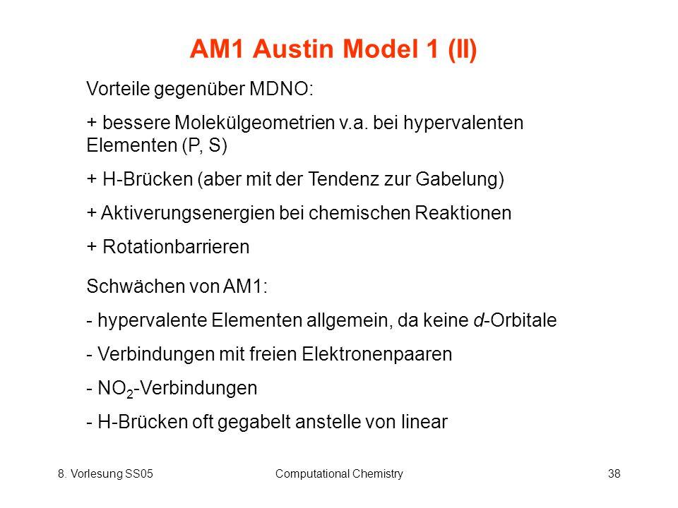 8. Vorlesung SS05Computational Chemistry38 AM1 Austin Model 1 (II) Vorteile gegenüber MDNO: + bessere Molekülgeometrien v.a. bei hypervalenten Element