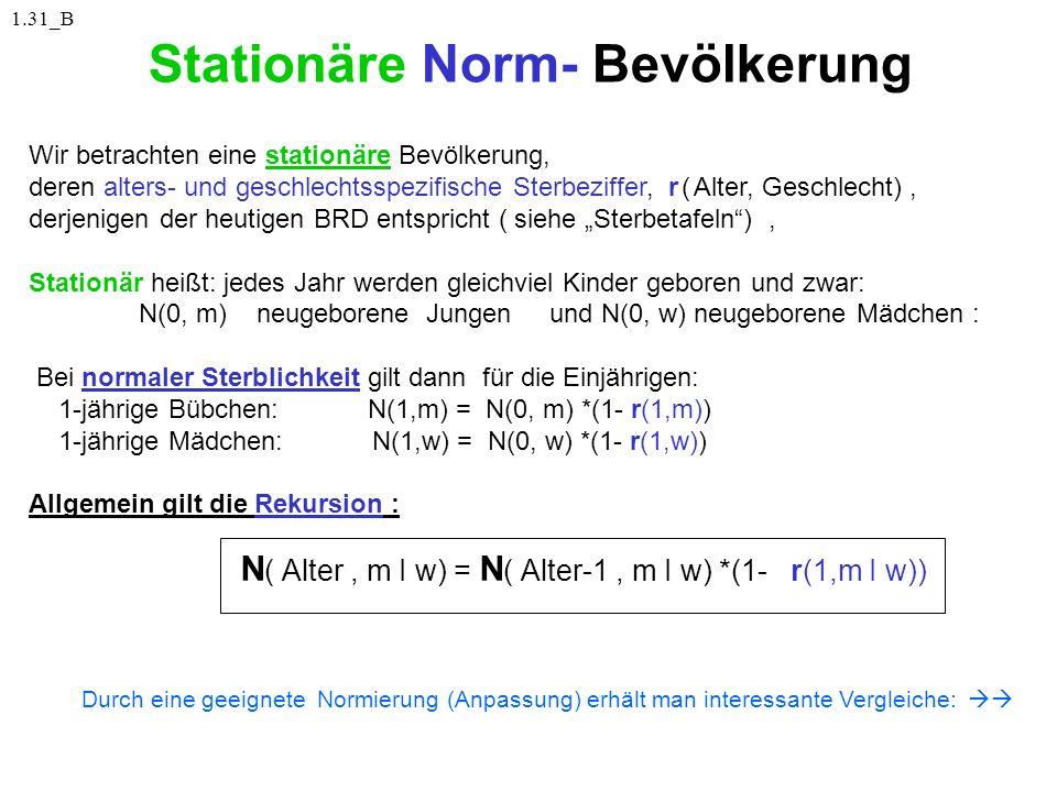 Stationäre Norm- Bevölkerung Wir betrachten eine stationäre Bevölkerung, deren alters- und geschlechtsspezifische Sterbeziffer, r ( Alter, Geschlecht)